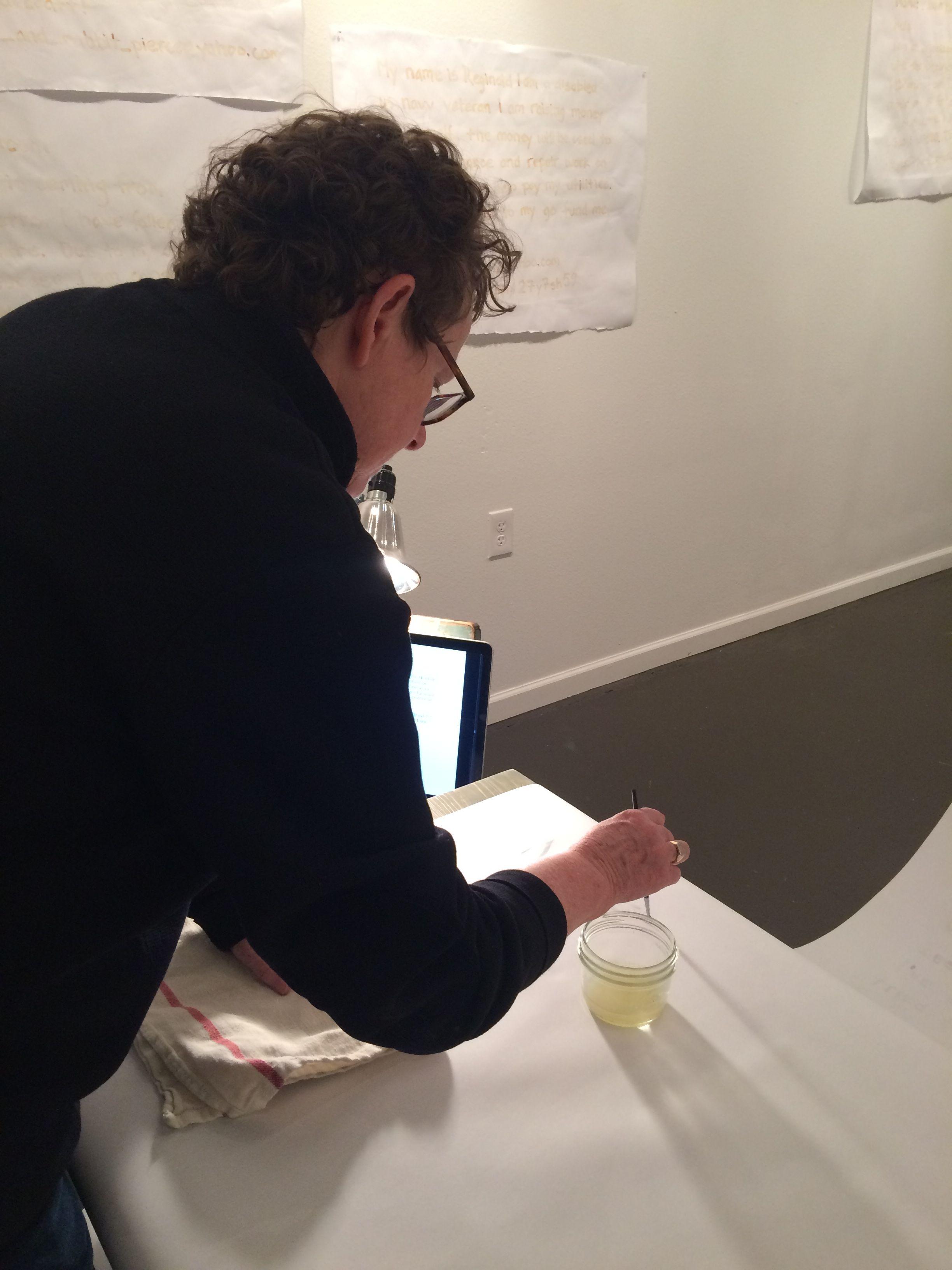 Installation reception - participant writing