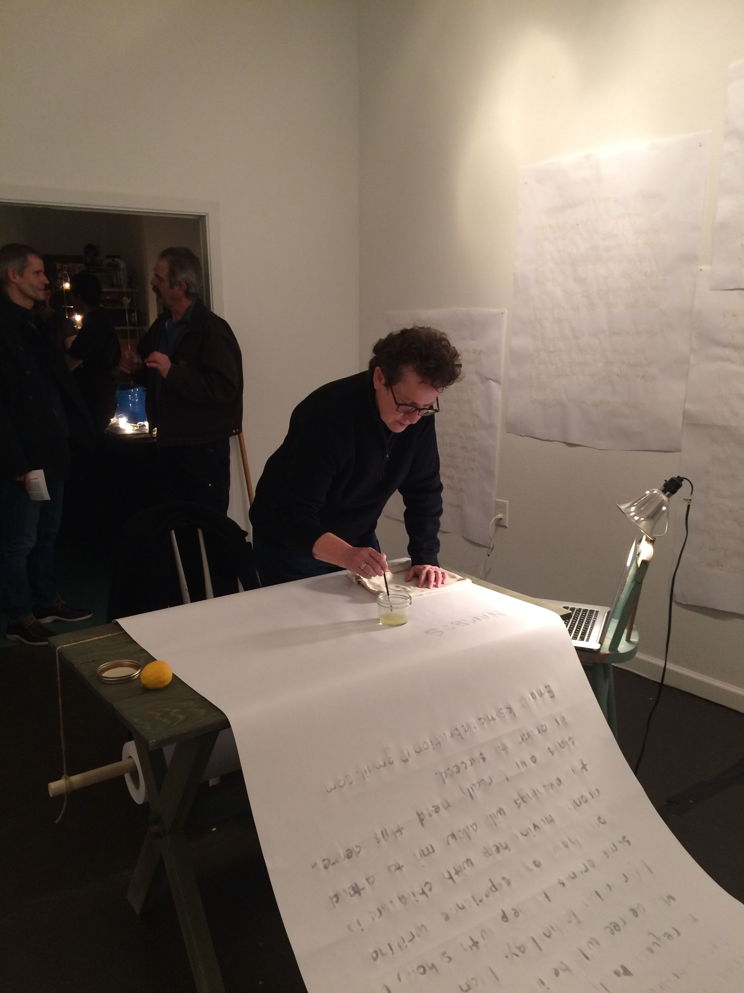 Installation reception - participant writing