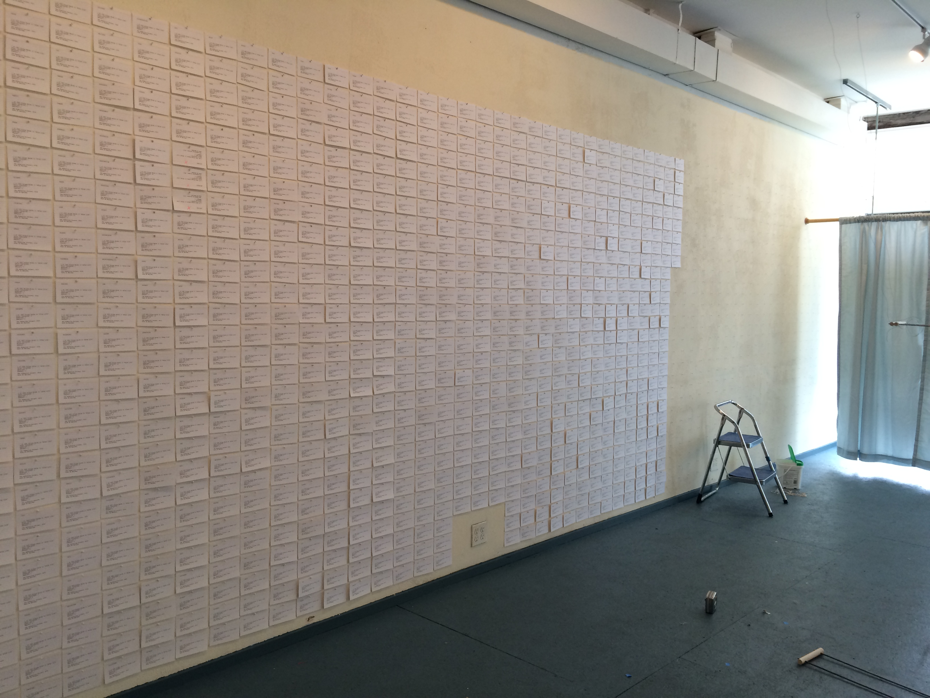 """Cards of Record"" installation detail, in progress"