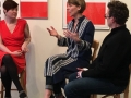 Sarah Tavis (L) and Marilyn Freeman (R) in conversation with Anne de Marcken at The Redaction Project's opening